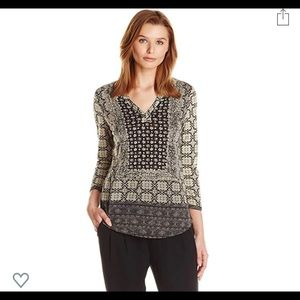 Lucky Brand Women's Placed Scarf Brown Print Top